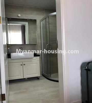 Myanmar real estate - for sale property - No.3418 - Two bedroom Golden City Condominium room for sale in Yankin! - common bathroom view