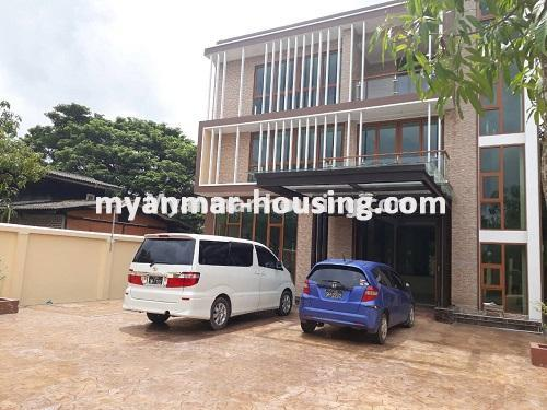 Myanmar real estate - for sale property - No.3421 - Four storey landed house with spacious halls for sale in Mayangone! - another view of the house