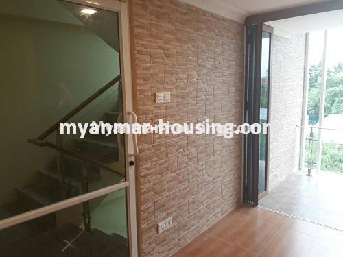 Myanmar real estate - for sale property - No.3421 - Four storey landed house with spacious halls for sale in Mayangone! - stair view