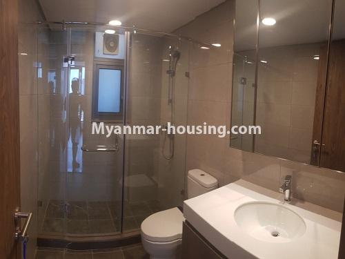 Myanmar real estate - for sale property - No.3441 - 2BHK Room in The Central Condominium for sale in Yankin! - bathroom view