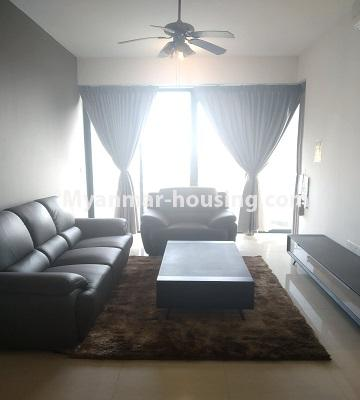 ミャンマー不動産 - 売り物件 - No.3457 - Kan Thar Yar Residential Condominium room for sale near Kan Daw Gyi Park! - living room