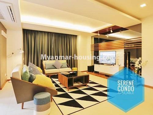မြန်မာအိမ်ခြံမြေ - ရောင်းမည် property - No.3461 - အဆင့်မြင့်ပြင်ဆင်ထားသည့် အခန်းကျယ်တစ်ခန်း တောင်ဥက္ကလာ Serene ကွန်ဒိုအခန်း ရောင်းရန်ရှိသည်။ - living room view