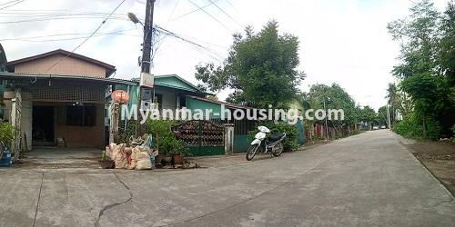 Myanmar real estate - for sale property - No.3462 - RC One Storey Landed House with half attic for sale near City Mart, Minglalar Cinema, No. 2 Market in South Dagon! - house and road view