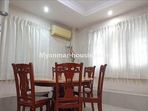 မြန်မာအိမ်ခြံမြေ - ရောင်းမည် property - No.3470 - ဗဟန်း တက္ကသိုလ်ရိပ်သာ လမ်းသစ်ထဲတွင် အိပ်ခန်းသုံးခန်းပါသော ပြင်တင်ပြီး ကွန်ဒိုခန်း ရောင်းရန်ရှိသည်။ - dining area view